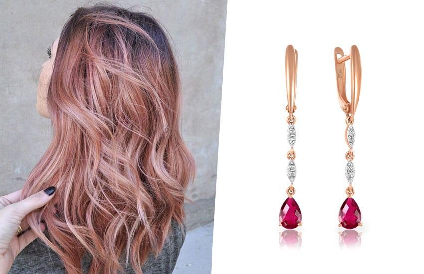волосы окрашивание розовый цвет серьги