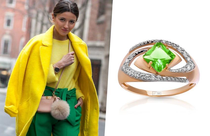 девушка зеленый цвет кольцо хризолит мода тренды