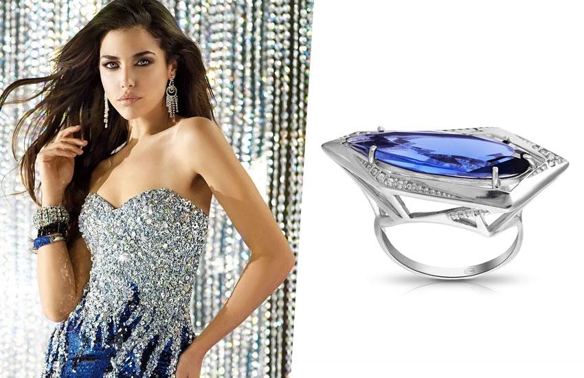танзанит кольцо украшение девушка стиль мода тренд