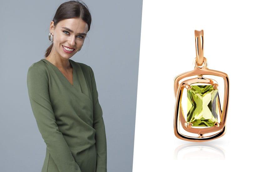 девушка зеленый цвет подвеска хризолит мода тренды