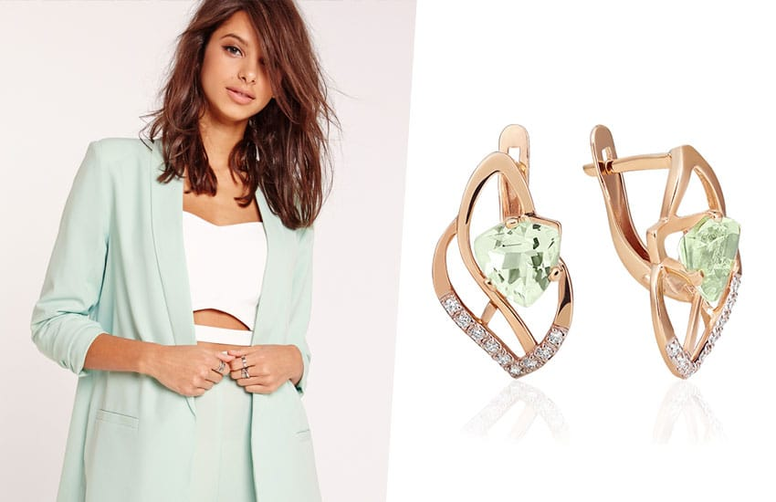 девушка зеленый цвет серьги мода тренды