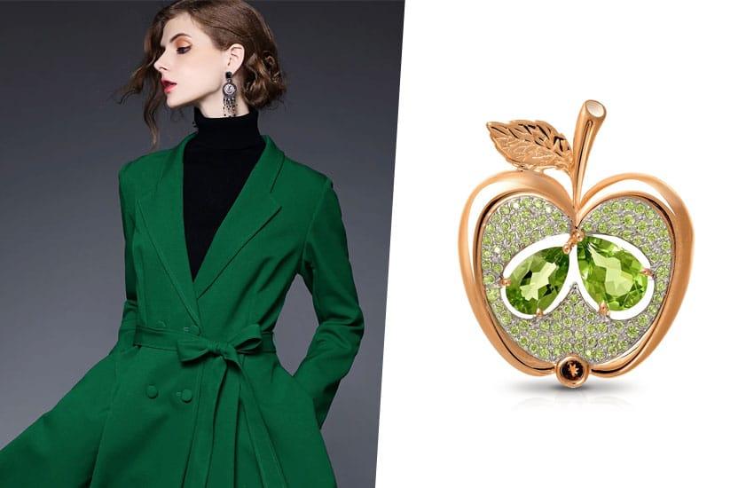 девушка зеленый цвет брошь тренд мода весна
