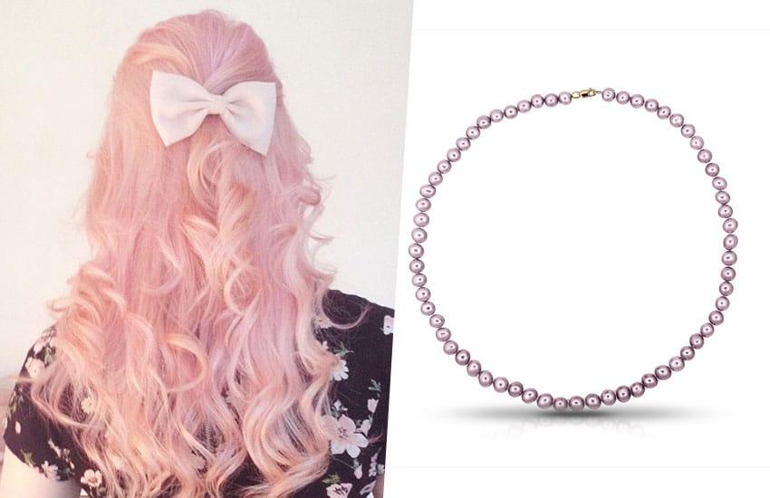 волосы окрашивание розовый цвет бусы жемчуг