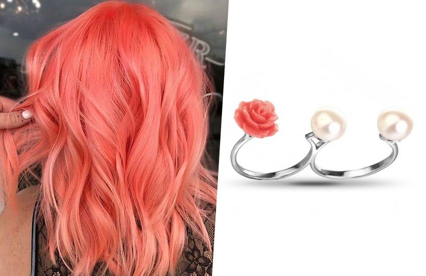 волосы цвет окрашивание кольцо коралл жемчуг серебро