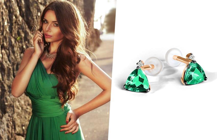 девушка зеленый цвет серьги пусеты изумруды тренды мода