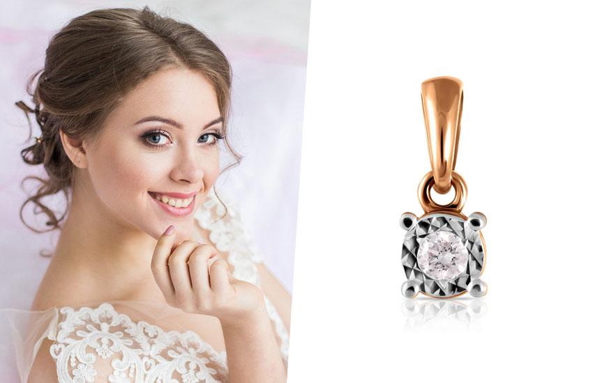 свадьба классический стиль подвеска бриллиант невеста
