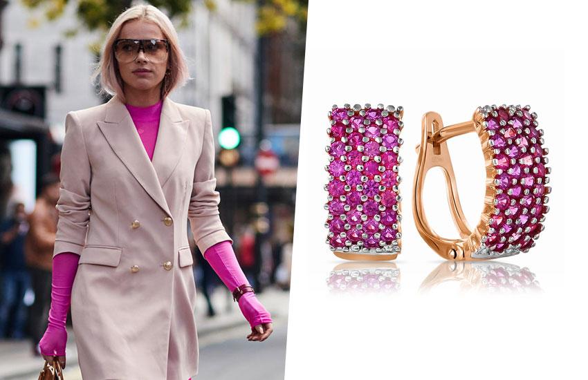 мода стиль весенний образ розовый цвет серьги рубин