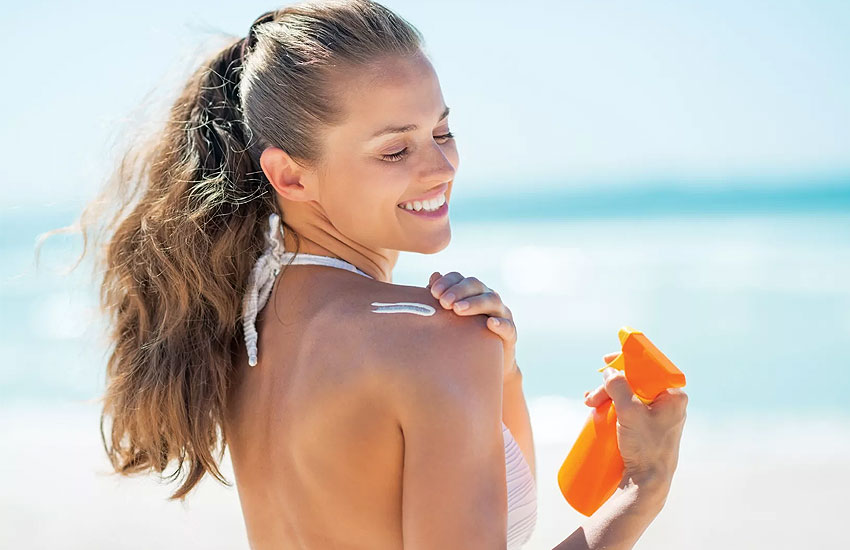 Девушка загар солнцезащитный крем SPF