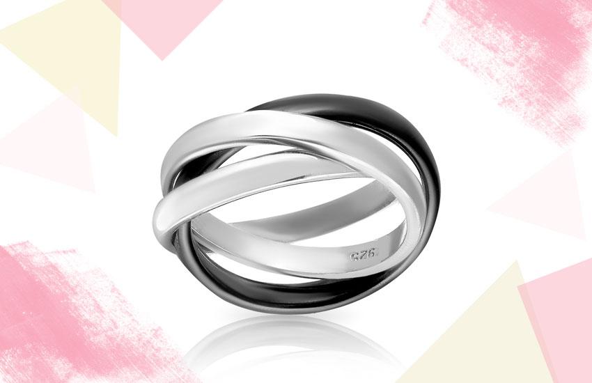 кольцо тринити серебро керамика