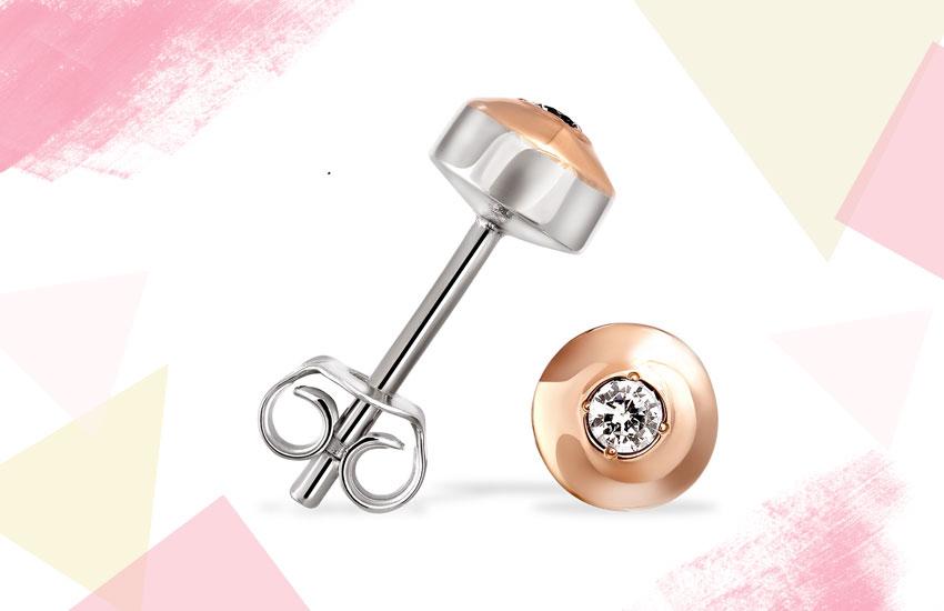 серьги-пусеты золото серебро