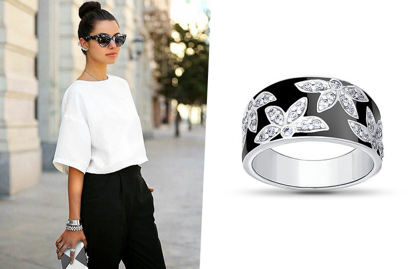 украшения в черно-белой гамме ювелирный тренд серебро эмаль