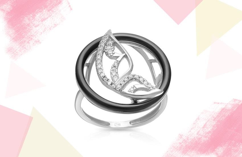 кольцо серебро керамика фианиты