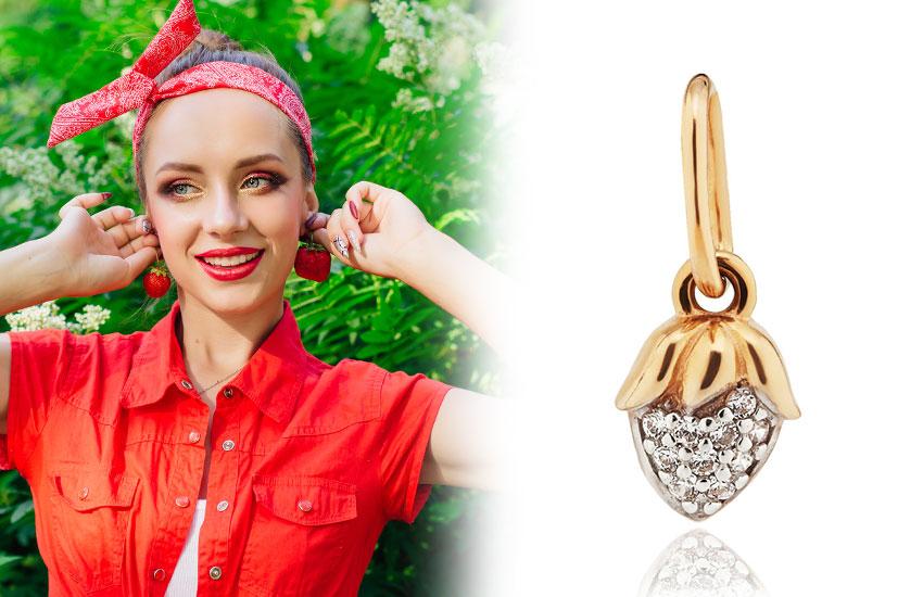 украшения ювелирка золото фрукты модные летние серьги гранат фиантиы клубника подвес кулон