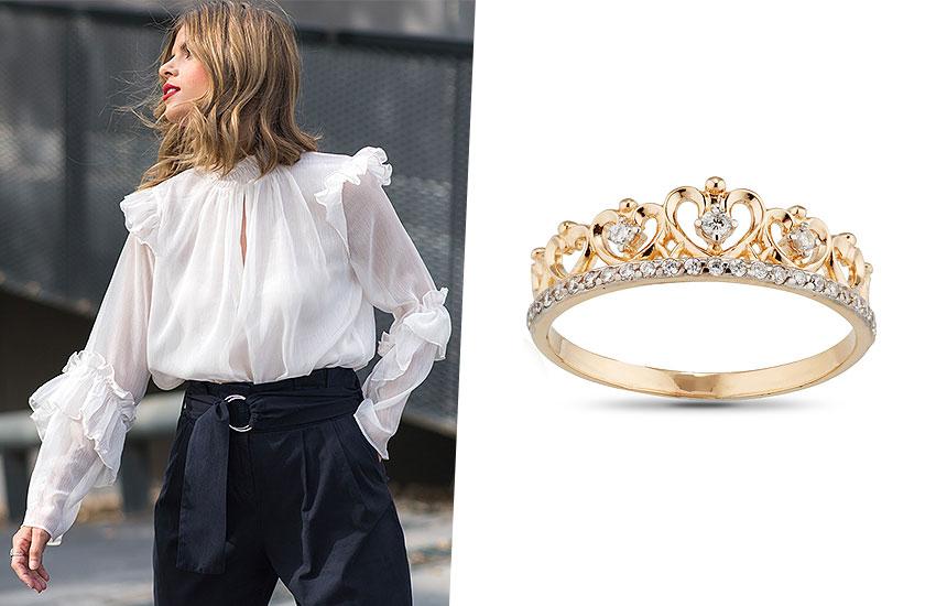 украшения с короной королевские драгоценности золото тренды мода 2019 кольцо