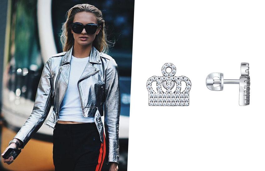 украшения с короной королевские драгоценности тренды мода 2019 серьги пусеты серебро