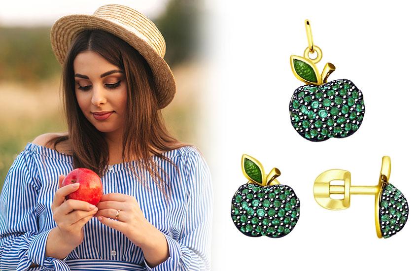 украшения ювелирка золото фрукты модные летние серьги пусеты подвес кулон яблоко
