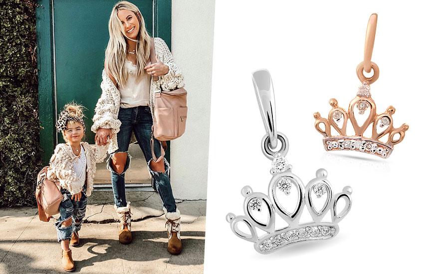 парные украшения с короной королевские драгоценности золото тренды мода 2019 подвеска family look
