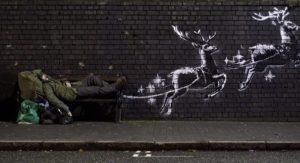 Бэнкси нарисовал рождественское граффити с оленями