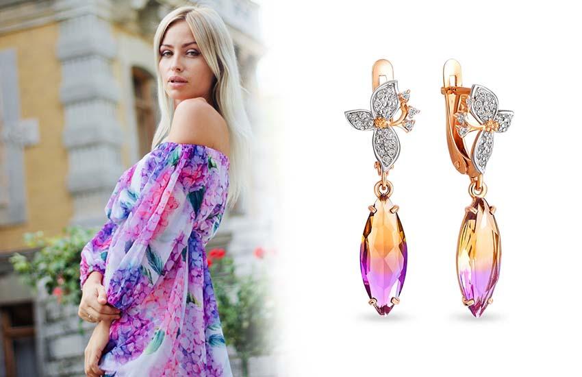 женственность девушка стиль украшения драгоценные камни аметрин
